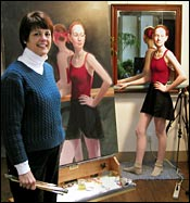 Diane Aeschliman at work with model